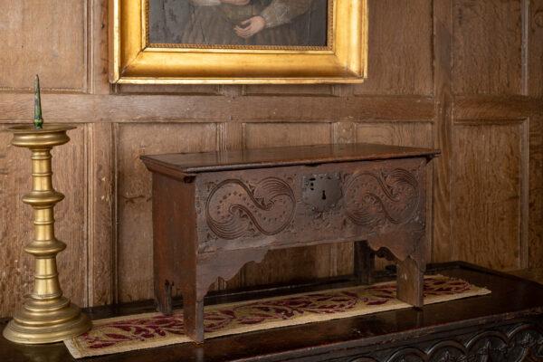 Charles II oak miniature carved chest