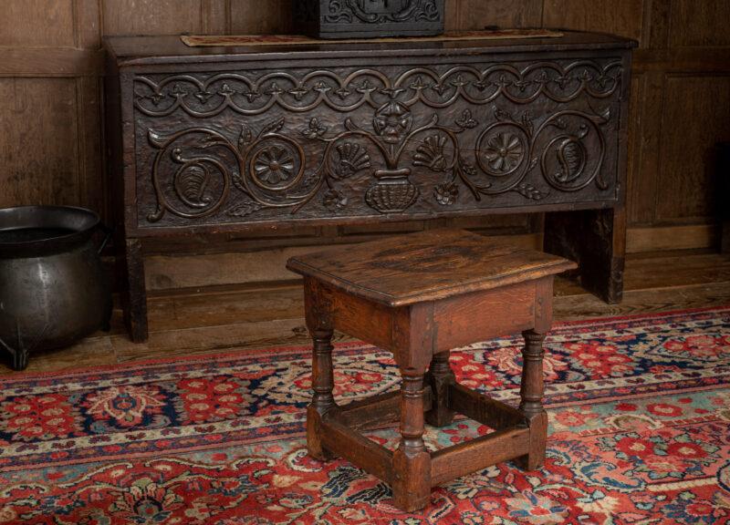 Charles I oak low stool