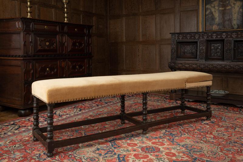 Charles II oak framed day bed / bench