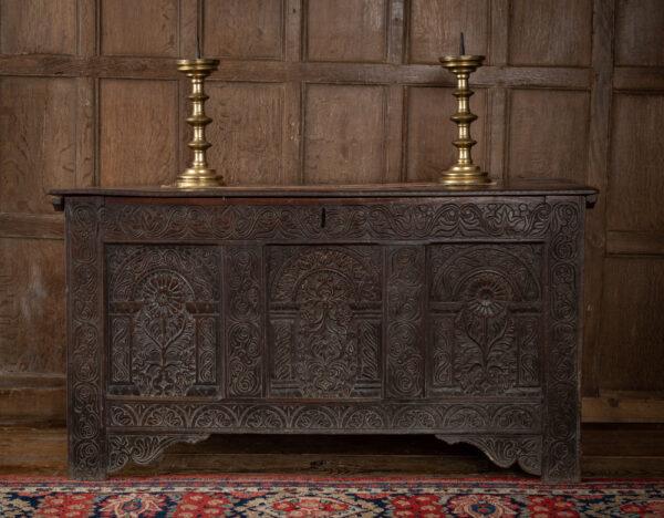East Devon carved Charles II oak chest