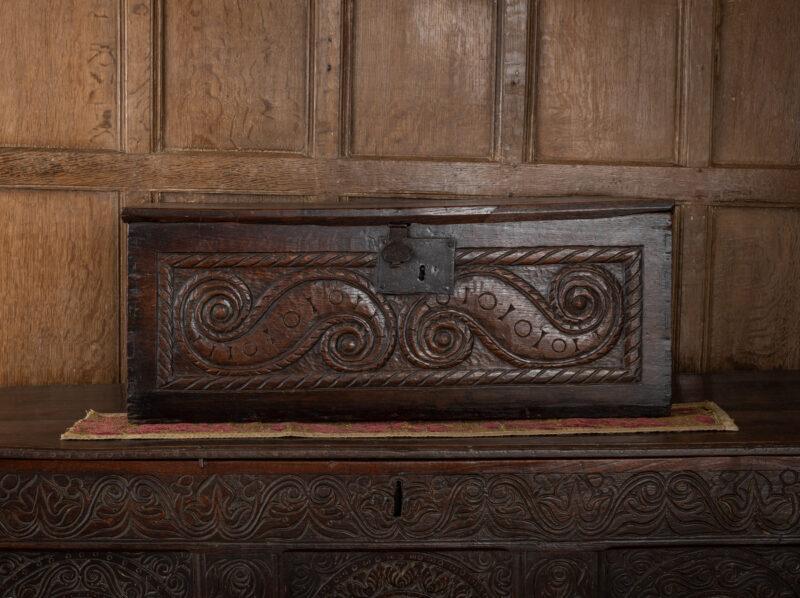 English Renaissance oak carved box