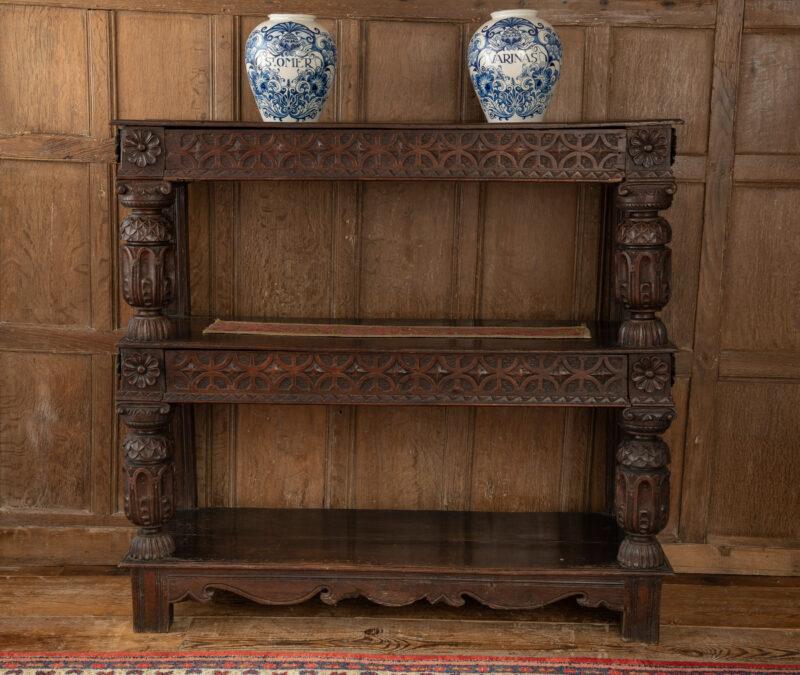 Elizabeth I oak carved court cup-board